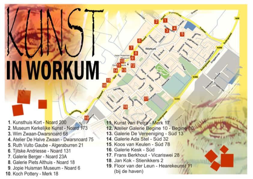 Flyer Kunst in Workum deelnemende adressen
