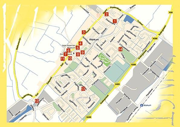 Beeldenstad - en Kunst in Workum  plattegrond deelnemers Kunst in Workum