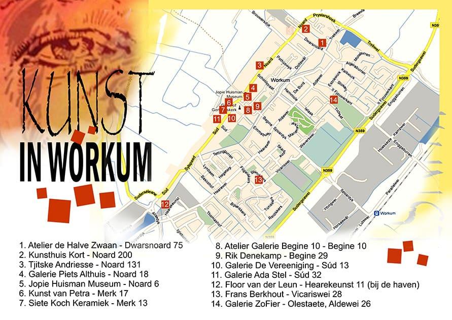 parel in Friesland - plattegrond deelnemers kunstroute 2017
