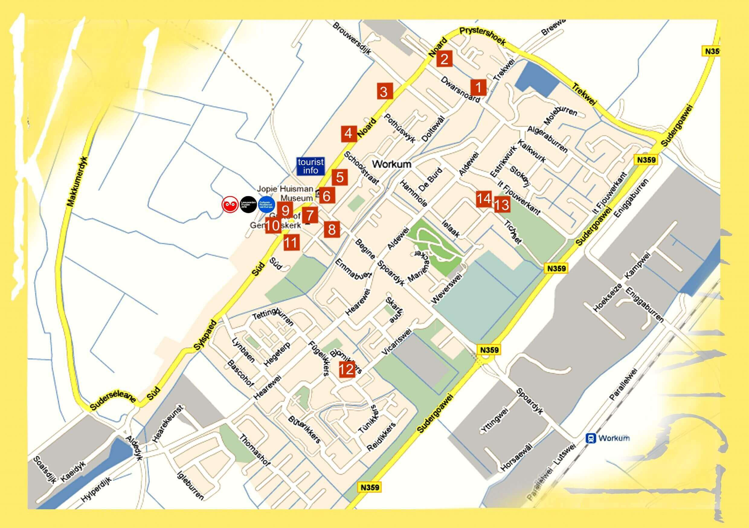 Beeldenstad Workum - en Kunst in Workum  plattegrond deelnemers Kunst in Workum
