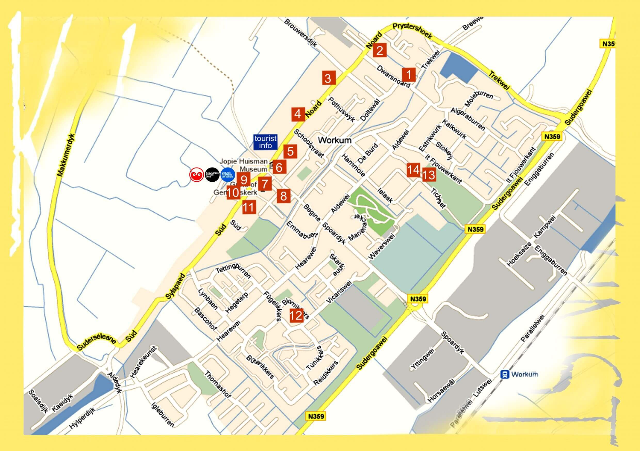 Kunst in Workum plattegrond