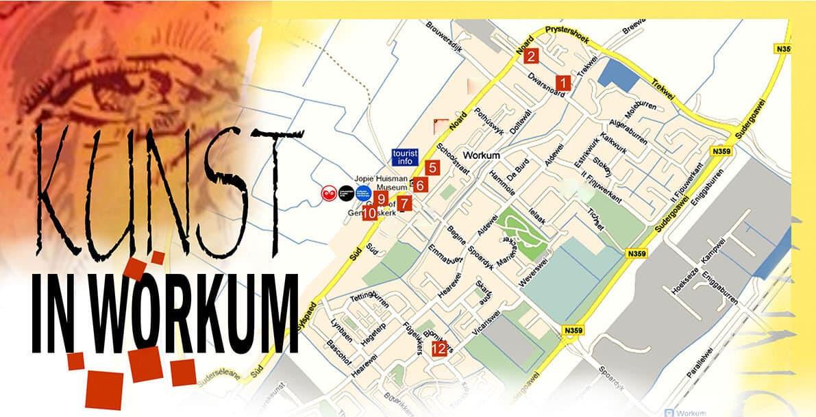 Beeldenstad Workum - en Kunst in Workum  plattegrond deelnemers Kunst in Workum