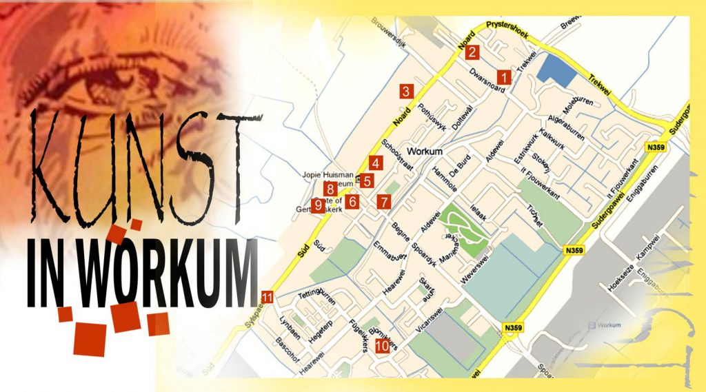 Workum kunstroute 2019 plattegrond